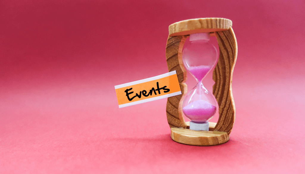 image with an hourglass and a tag written events